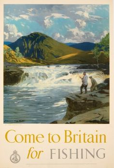 Come to Britain for Fishing Norman Wilkinson, 1948 - original vintage poster by Come to Britain for Fishing Norman Wilkinson listed on AntikBar.co.uk