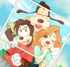 Group Picture | by Y @ Pixiv.net // max and roxanne; goof troop; a goofy movie