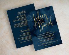 Script wedding invitations navy blue watercolor by appleberryink