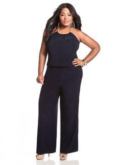 e3a8dfa43df1 Ashley Stewart Women s Plus Size Halter Jumpsuit - Plus Size Dresses -  AshleyStewart.com Plus