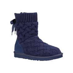 Women's UGG Isla Boot - Navy Booties ($150) ❤ liked on Polyvore featuring shoes, boots, blue, navy boots, navy blue slip on shoes, lightweight shoes, slipon boots and lightweight boots