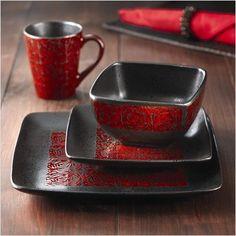 222 Fifth Pilar Red 16-Piece Dinnerware Set | Dinnerware | Pinterest | Products Dinnerware sets and Dinnerware & 222 Fifth Pilar Red 16-Piece Dinnerware Set | Dinnerware | Pinterest ...