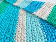 Cotton chunky crochet baby blanket / throw by PeanutTreeDesigns