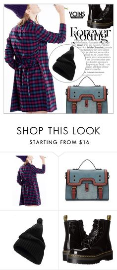 """""""Yoins43: Forever Young"""" by shambala-379 on Polyvore featuring Dr. Martens, StreetStyle, shirtdress, satchel, BeanieHat and yoins"""
