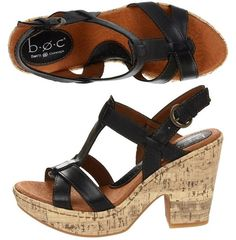 "b.o.c. – Sallyanne: $54.99, 35% off! (normally 85.00)    High quality design meets functional fashion in the b.o.c.® Sallyanne sandal.   Strappy leather upper. T-strap design with adjustable metal buckle closure, 4"" heel with 1 1/4"" platform."