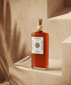 Bohemia Whiskey Is A Tactile Experience | Dieline - Design, Branding & Packaging Inspiration Alcohol Bottles, Glass Bottles, Perfume Bottles, Beverage Packaging, Brand Packaging, Whisky, Whiskey Brands, Bottle Design, Packaging Design Inspiration