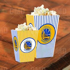 Golden State Warriors Sports Party Popcorn Boxes by Sports Invites