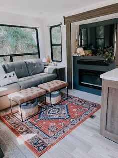 Tiny House Living, Rv Living, Living Room, Camper Life, Rv Life, Build A Fireplace, Rv Homes, Rv Organization, Rv Interior