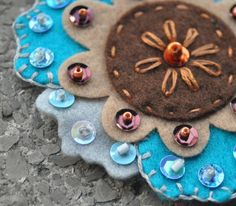 Felt flowers embellished with sequins, beads and embroidery project | Sewn Up by TeresaDownUnder