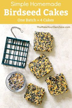This quick and simple recipe without gelatin let's you make your own batch of four homemade birdseed cakes for your suet feeders.