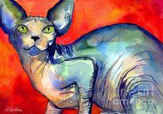 Impressionistic Watercolor sphynx cat painting by Svetlana Novikova, www.SvetlanaNovikova.com