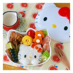 キティちゃんのおにぎり型&お弁当箱で♪Wキティ弁当 : かわいいおべんとう。