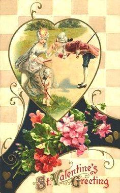St. Valentines Greeting, beautiful old postcard!