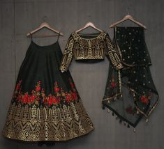 Buy dark green with blest embroidery work & foil work party wear lehenga choli online.This set is features a dark green blouse in dark green fully embellished with crystal, embroidery and sequins work.It has matching dark green lehenga in raw silk wit Indian Attire, Indian Wear, Indian Wedding Outfits, Indian Outfits, Pakistani Dresses, Indian Dresses, Bollywood Dress, Indian Lehenga, Lehenga Choli