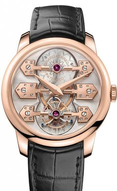 The @girardperregaux La Esmeralda Tourbillon features an 18k pink gold case, measuring 44 mm in diameter, which houses the automatic Caliber GP09400, with a 14.3-mm-diameter tourbillon carriage and a 10.5-mm-diameter balance wheel. More @ http://www.watchtime.com/wristwatch-industry-news/watches/bridges-to-the-past-girard-perregaux-la-esmeralda-tourbillon-marks-225-years/ #girardperregaux #watchtime #menswatches #Baselworld2016