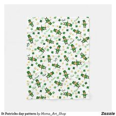 St Patricks day pattern Fleece Blanket Moma Art, Picnic In The Park, Edge Stitch, Outdoor Events, St Patricks Day, Delicate, Vibrant, Throw Blankets, Pattern
