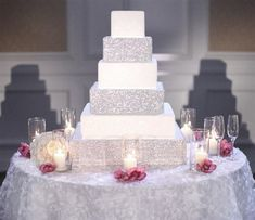 White Sparkly Wedding Cake - @Lauren Davison Ailee @Chelsea Rose Strodtman