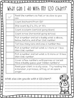 Here's a 120 number chart with a checklist of activities for its use.