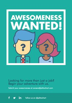Design a creative yet simple graphic for your #job #recruitment poster easily using this template. | Create your #poster at piktochart.com