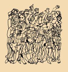 Ben Shahn, Crowd , n. Art And Illustration, Black And White Illustration, Ink Illustrations, Graphic Design Illustration, Crowd Drawing, Gcse Art Sketchbook, Sketchbooks, Ben Shahn, Gothic Wallpaper
