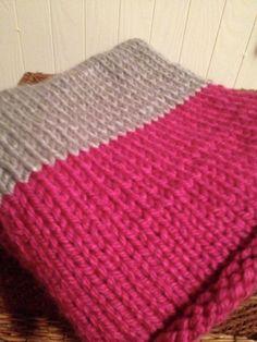 Pink and Grey Knit Baby Blanket - Modern Nursery Decor