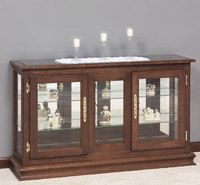 Amish Small Console Curio Cabinet with Sliding Door | Consoles ...