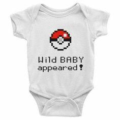 Pokemon Wild Baby Appeared Infant short sleeve one-piece Baby Onesie Cute Baby Onesies, Cute Baby Clothes, Pokemon Baby Clothes, Funny Babies, Cute Babies, Babyshower, Geek Baby, Baby Needs, Baby Time