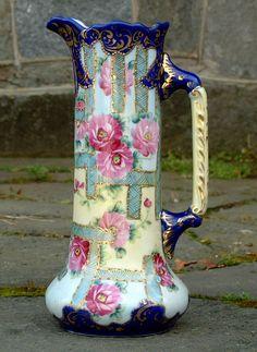 Image detail for -Vintage Hand Painted Nippon Porcelain Ewer