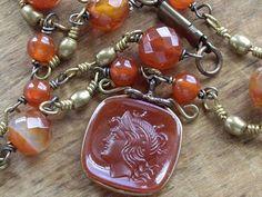 Carnelian Watch Fob Necklace Brass Carnelian Beads by WhatOnceWas, $165.00