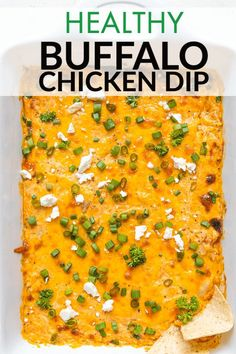 This healthy buffalo chicken dip is an easy, lightened up recipe made without cream cheese. It can be made in the oven or crockpot! Buffalo Chicken Cheese Dip, Healthy Buffalo Chicken Dip, Chicken Dips, Rotisserie Chicken, Healthy Chicken, Chicken Recipes, Yummy Appetizers, Appetizer Recipes, Appetizer Ideas
