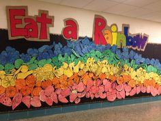 Eat A Rainbow Collaboration with Heidi! Cafeteria Bulletin Boards, Rainbow Bulletin Boards, Kids Bulletin Boards, School Displays, Classroom Displays, Art Classroom, School Cafeteria Decorations, Healthy Schools, Group Art Projects