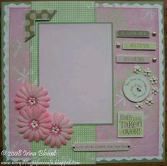 Pre-made Scrapbook Layout - Baby Girl by - Cards and Paper Crafts at Splitcoaststampers Pregnancy Scrapbook, Baby Girl Scrapbook, Baby Scrapbook Pages, Birthday Scrapbook, Kids Scrapbook, Scrapbook Supplies, Scrapbook Layout Sketches, Scrapbook Designs, Scrapbooking Layouts