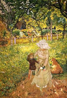 'Sunny Morning', Lucy Hessel and Denise Natanson in the Garden at Les Pavillons, Villerville Edouard Vuillard - 1910 (by BoFransson) Pierre Bonnard, Edouard Vuillard, Monet, Jean Leon, Beaux Arts Paris, Avant Garde Artists, Garden Painting, Impressionist Paintings, Art Moderne