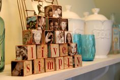 Modge Podge pictures onto little blocks...great idea!
