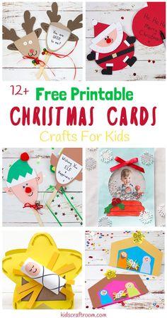 Free printable christmas cards for kids easy kids crafts pin Free Printable Christmas Cards, Christmas Card Crafts, Homemade Christmas Cards, Christmas Activities, Christmas Fun, Holiday Crafts, Holiday Fun, Xmas, Easy Crafts For Kids