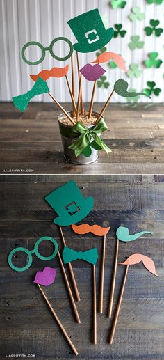 DIY St. Patrick's Day Party Decor and Photo Props at www.LiaGriffith.com