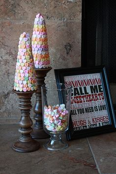 Candy Cone Trees.  The candlesticks would be really pretty painted and decorated.