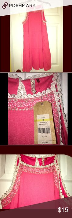 Red Camel embroidered summer dress NWT 💕👗 Super cute dress!! Brand new with tags. Tiered high-neck pink summer dress with crochet trim and keyhole detail in back. Red Camel Dresses