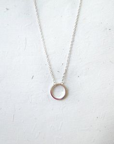 Eternity circle necklace silver disc circle by laplumeblanche