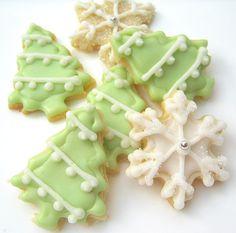 Christmas tree & snowflake sugar cookies - SugarMeDesserterie @ etsy