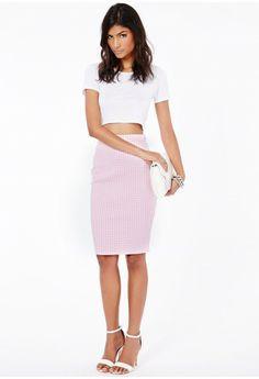 Leja Dogtooth Midi Skirt - Skirts - Midi Skirts - Missguided