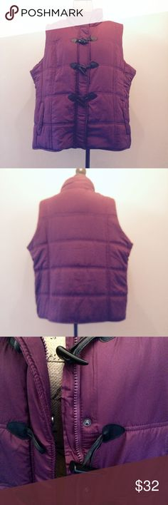 NWT Silky Puffer Vest Gorgeous purple puffer vest. Silky fabric with toggle, snap and zippered closing. Slash pockets keep your hands warm! From Chadwick's, size 1X. NWT Chadwicks Jackets & Coats Vests