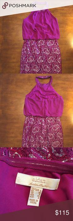 Aidan Mattox Dress Size: 4 Color: Purple w/ Silver Embellishments Material: Chiffon & Polyester Condition: EUC Brand: Aidan Mattox Aidan Mattox Dresses
