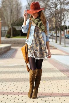 Boho chic winter and spring combination, love these long boots