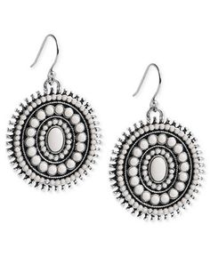 Lucky Brand Earrings, Silver-Tone Semi-Precious Reconstituted Calcite Drop Earrings