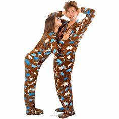 Dinosaur Fleece Footed Pajamas with Drop Seat