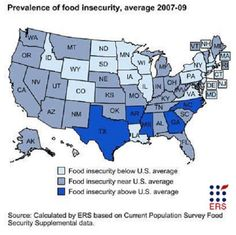 Recent studies published by the USDA & Feeding America find that food insecurity has increased in the United States w/ five States topping the chart: Texas, Arkansas, Mississippi, North Carolina, & Georgia.