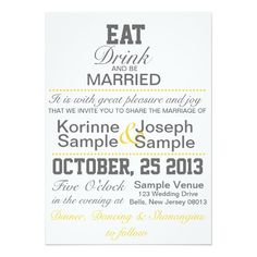 Eat, Drink and Be Married Wedding Invitation