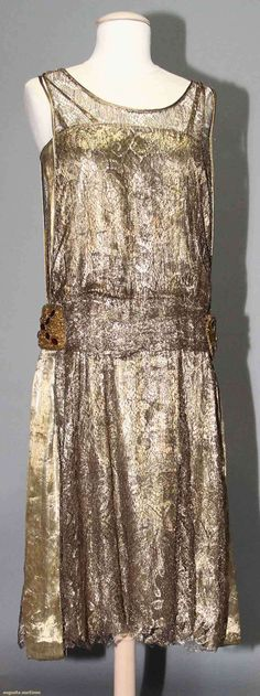 GOLD LACE PARTY DRESS, 1920s Lace over lame w/ beaded & jeweled hip embellishment.