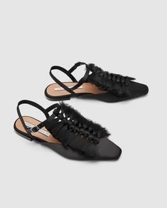 SLINGBACK SHOES WITH FRINGE-Flats-SHOES-WOMAN | ZARA Sweden White Pumps, Nude Pumps, Cheap Fashion, Fashion Shoes, Slingback Shoes, Heels, Best Flats, Walk This Way, We Wear